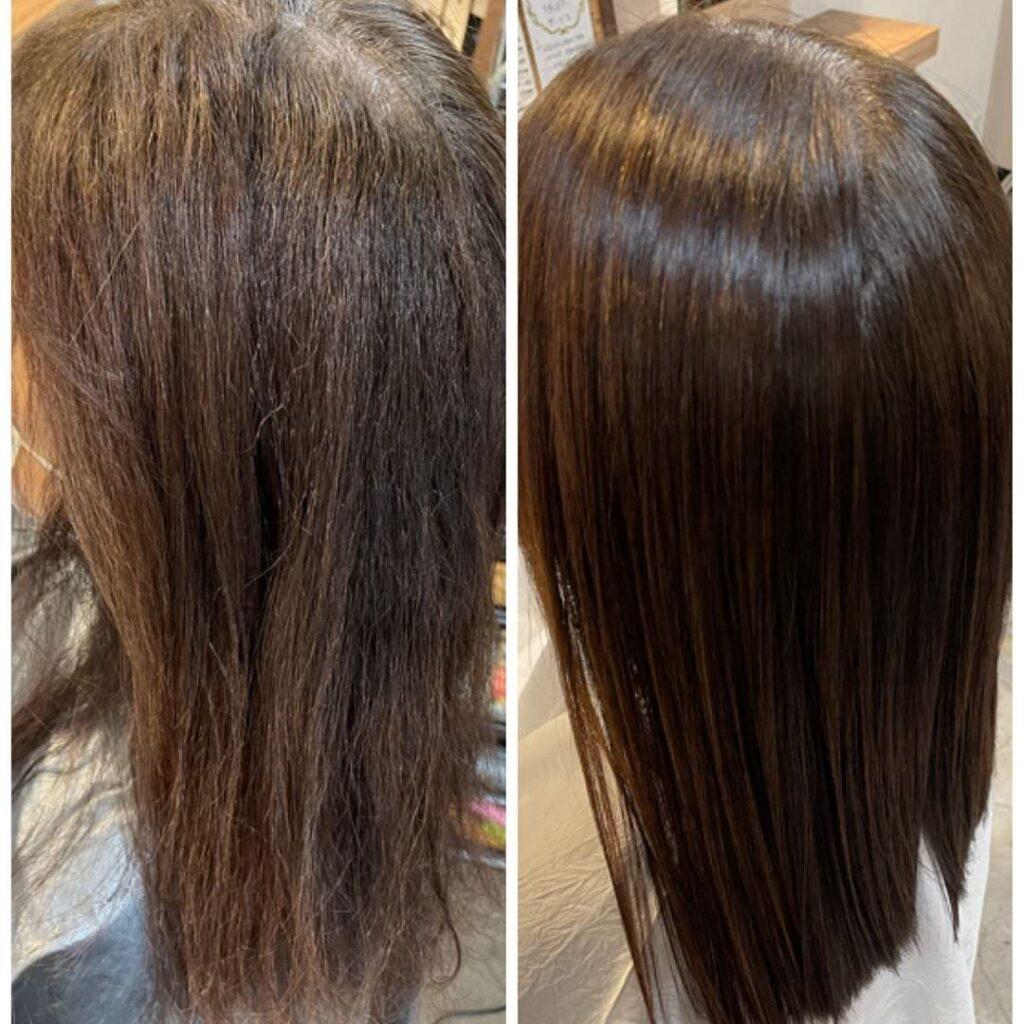 天使の髪質改善ヘアエステのビフォーアフター